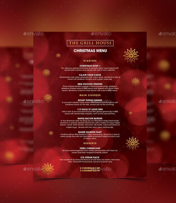 Christmas Holiday Festive Menu Design