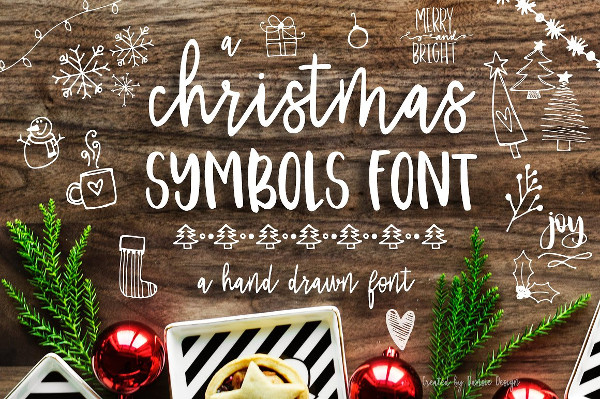 Hand Drawn Christmas Symbols Font