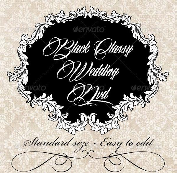 Classy Black Wedding DVD Label Template
