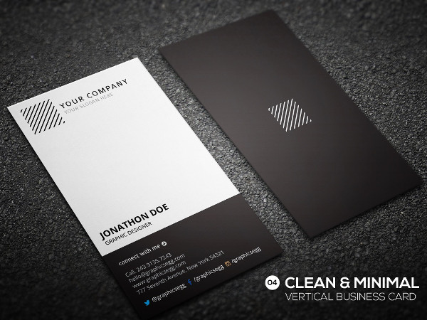 Clean Vertical Business Card Template