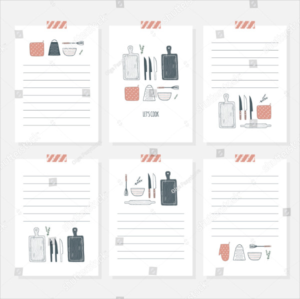 Cooking Card Template Set