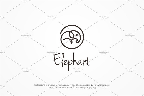Cool Elephant Line Logo Template