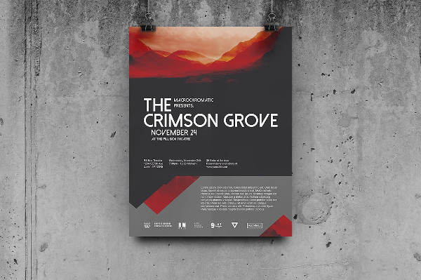 Crimson Concert Flyer or Poster Template