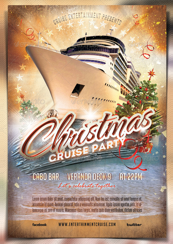 Christmas Cruise Party Flyer Template