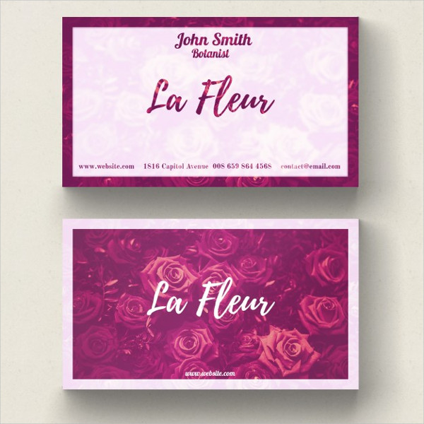 Free PSD Cute Floral Business Card