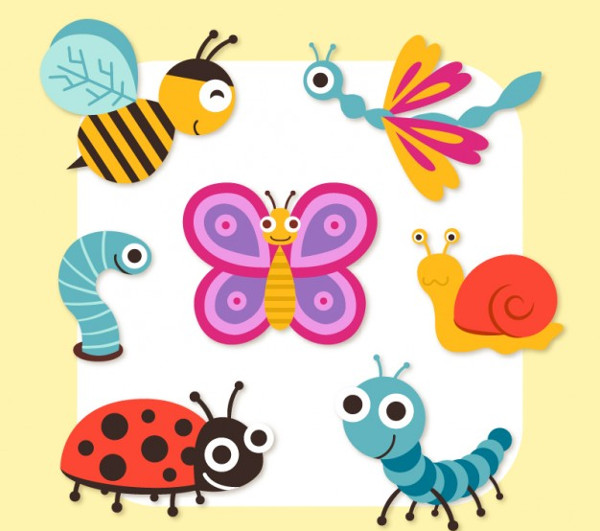 Cute cartoon insects Icons Free Download