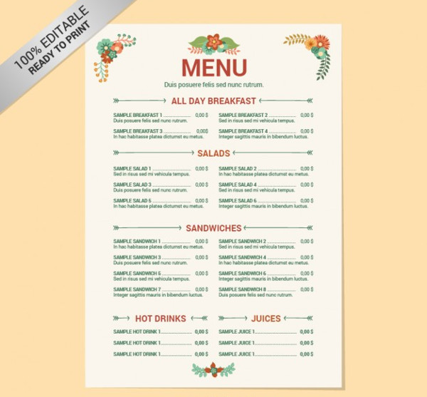 Editable Restaurant Menu Template Free