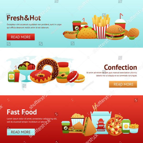 Fast Food Horizontal Banner Set