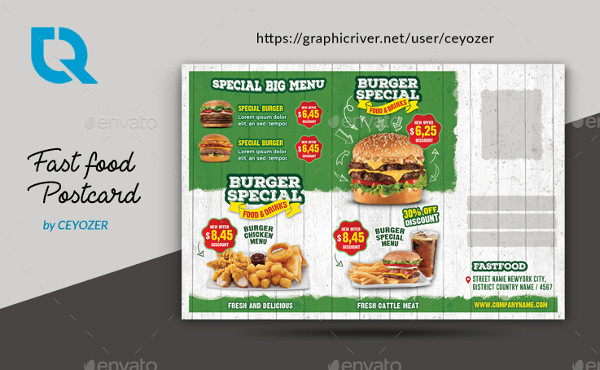 Fast Food & Restaurant Postcard Template