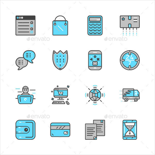 Flat Online Payment Icons
