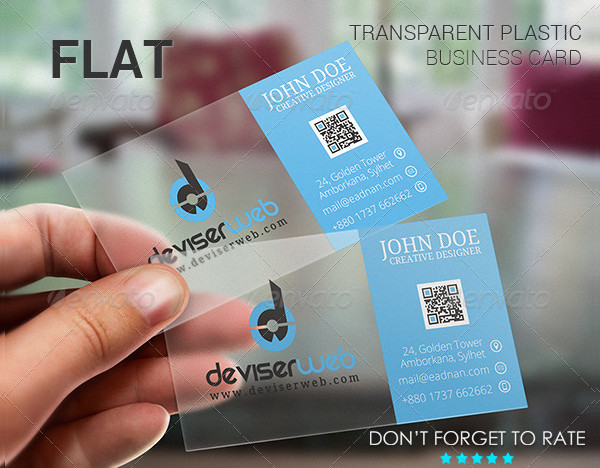 Flat Transparent Plastic Business Card