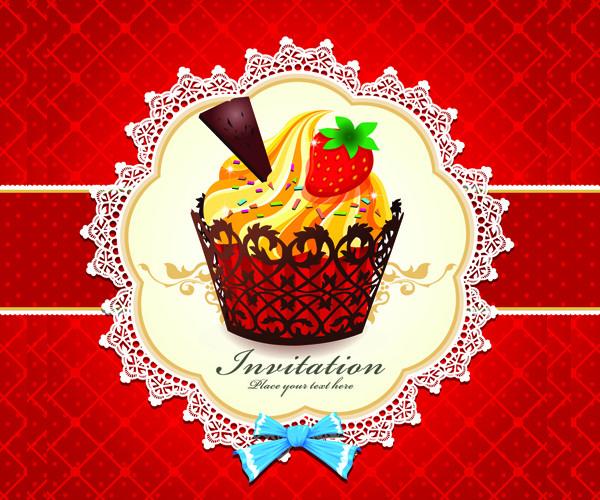 Floral Cute Cupcakes Invitations Card