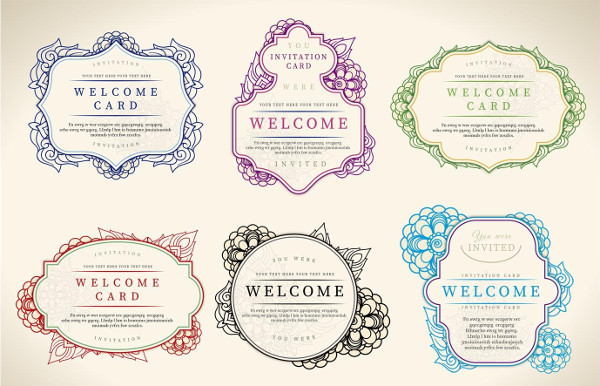 Floral Welcome Label Vectors Free Download