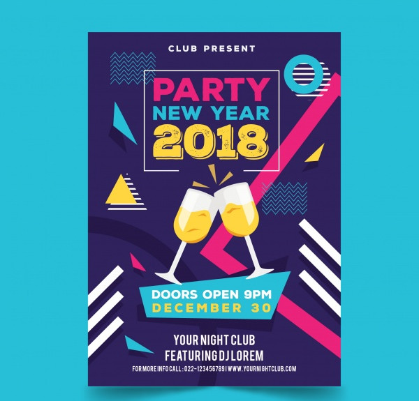 Flyer for New Year Party with Champagne Glasses Free