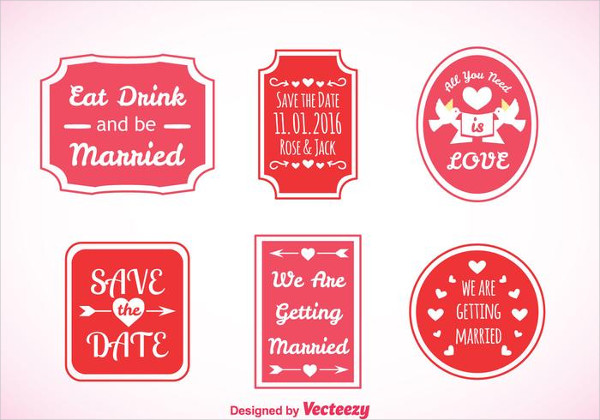 Free Download Wedding Pink Labels Vector