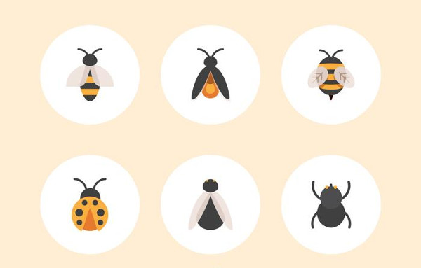 Free Flat Insect Vector Icons