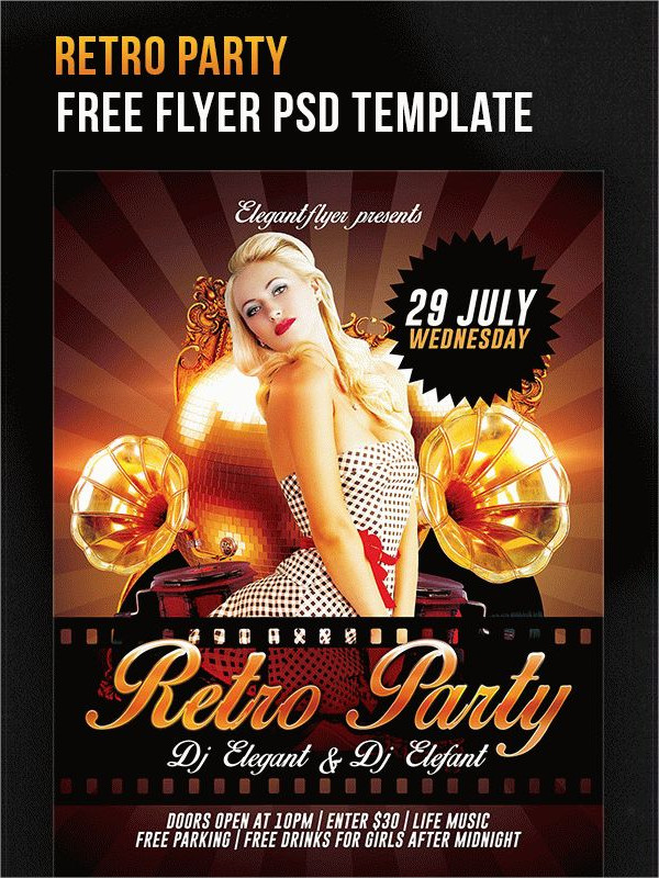 Free Retro Theme Party Flyer Template