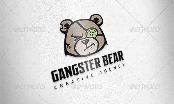 Gangster Bear Logo Template