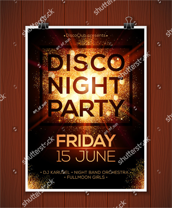 Hanging Disco Night Party Poster Mockup