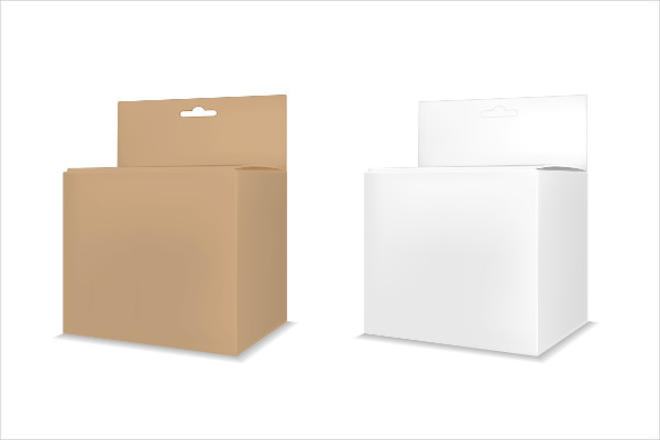 Cardboard Packaging Box Mockup with Hanging Hole