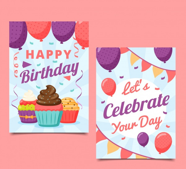 Happy Birthday Card in Flat Style Free Vector
