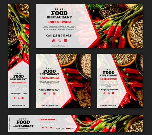Healthy Food Restaurant Banner Collection with Photos Free