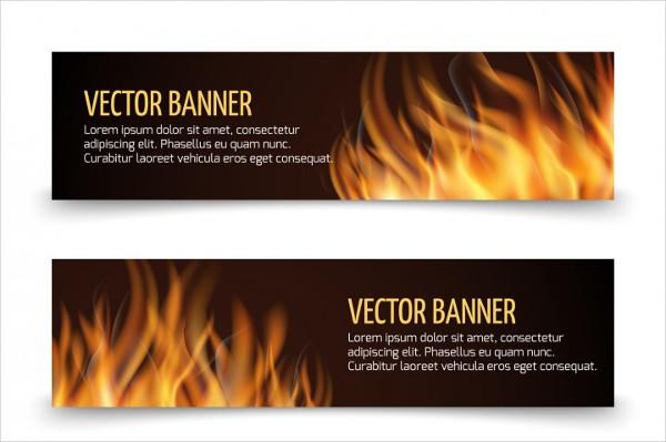 Hot Fire Advertisement Horizontal Banners Set