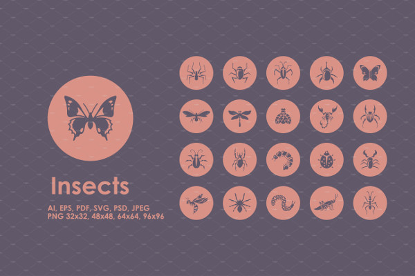 Set of Insects Simple Icons