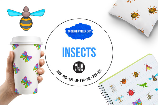 Insects Cartoon Icons Set
