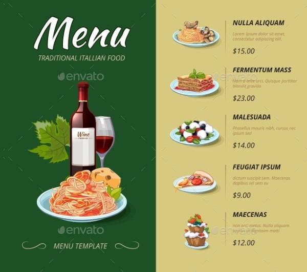 Italian Cuisine Restaurant Menu