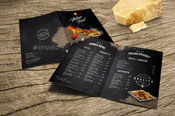 A4 Italian Food Menu Design and US Letter