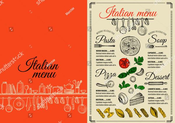 Unique Italian Restaurant Food Menu Brochure