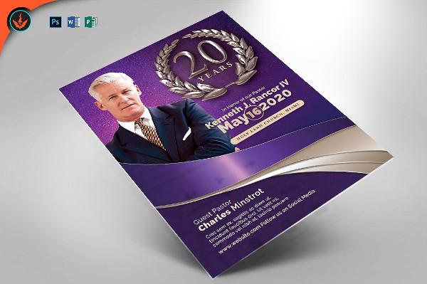 Lavender Pastors Anniversary Flyer