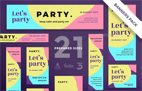 Let's Party Banner Templates Pack