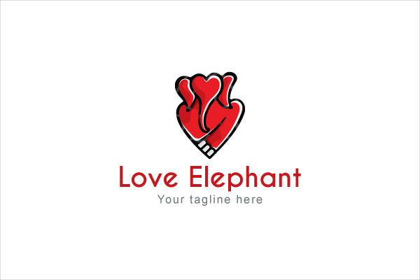 Love Elephant Logo Design