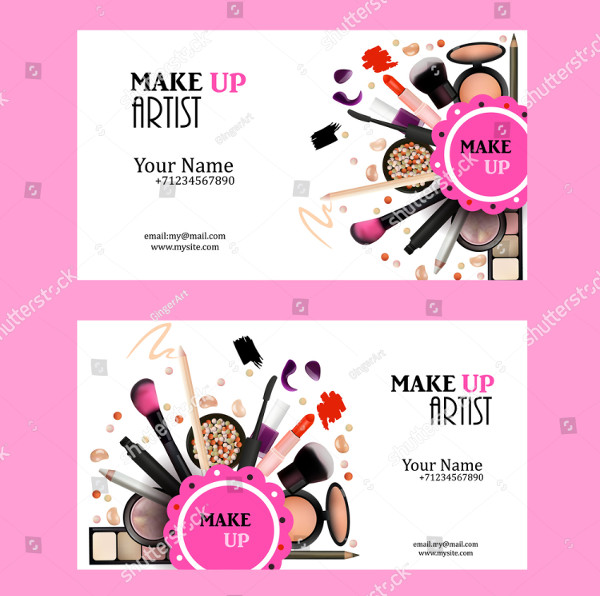 Cool Make Up Artist Business Card Design Set