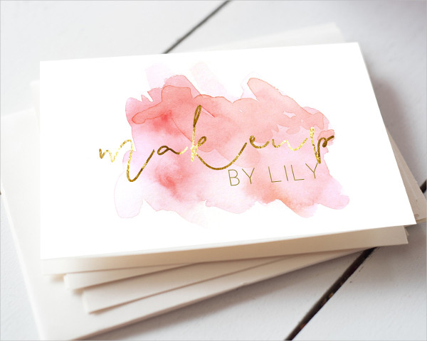 Makeup Watercolor Business Card Design