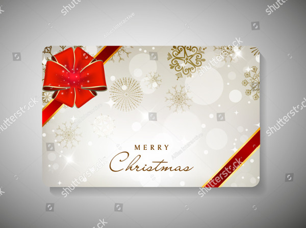 Merry Christmas Gift Card with Red Ribbon