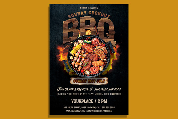 Modern Barbecue PSD Flyer