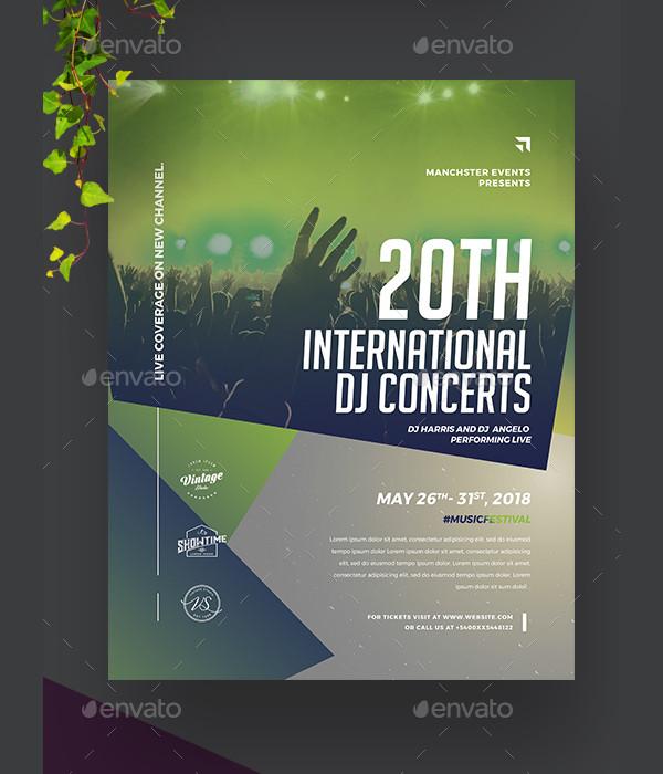 Modern DJ Concert Poster Template
