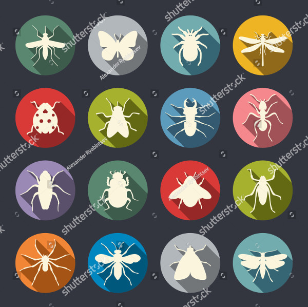 Modern Insects Icon Set