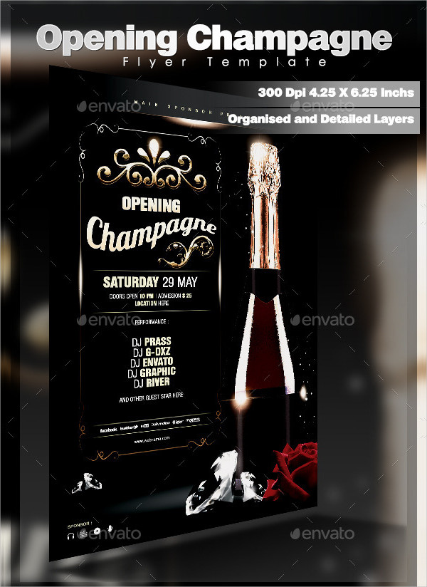 Opening Champagne Flyer Template