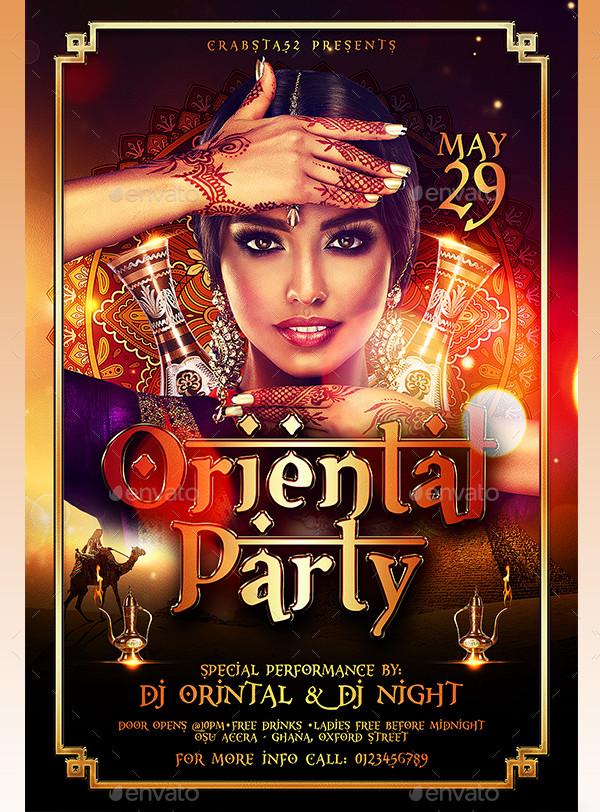 Modern Oriental Party Flyer Template