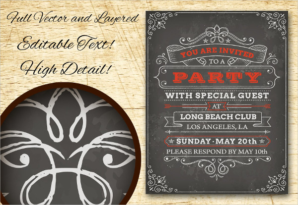 Party Invitations Chalkboard Posters