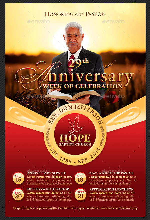 Pastor Anniversary Events Flyer