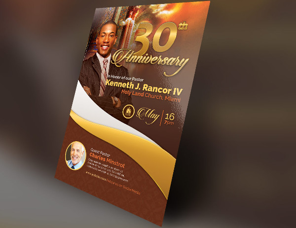 Pastor's Anniversary Design Church Flyer