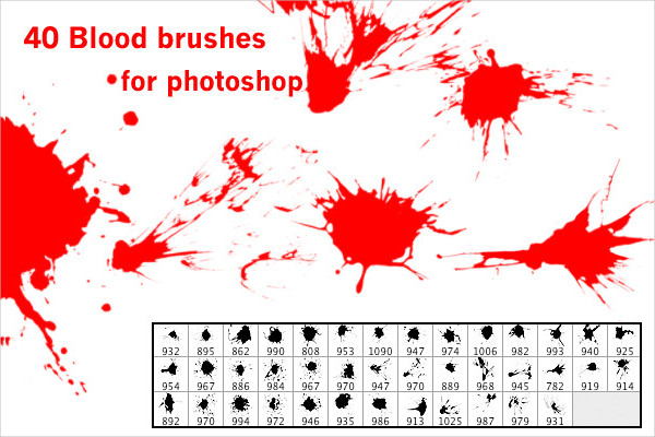 40 Blood Brushes for Photoshop