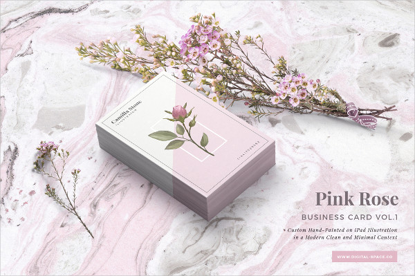 Pink Rose Business Card Template