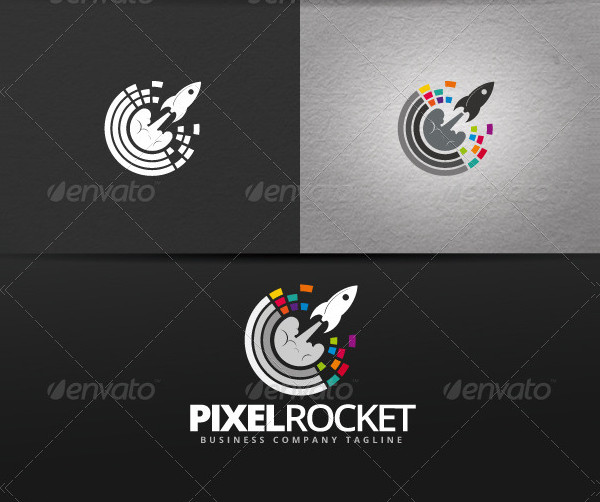 Pixel Rocket Business Logo Template