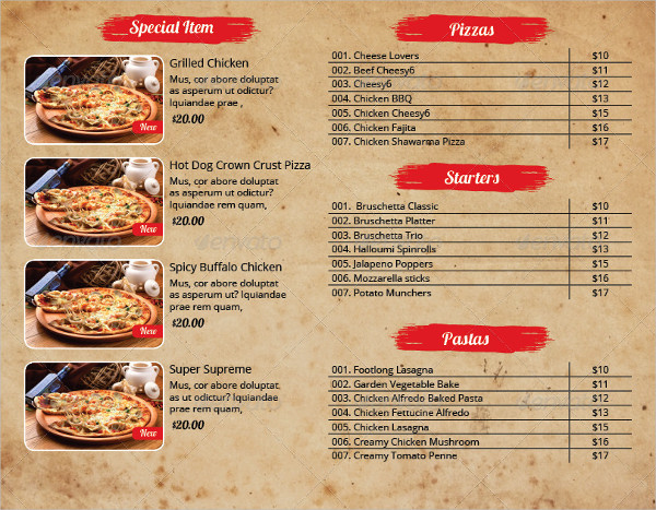 Pizza Menu InDesign Template Pack